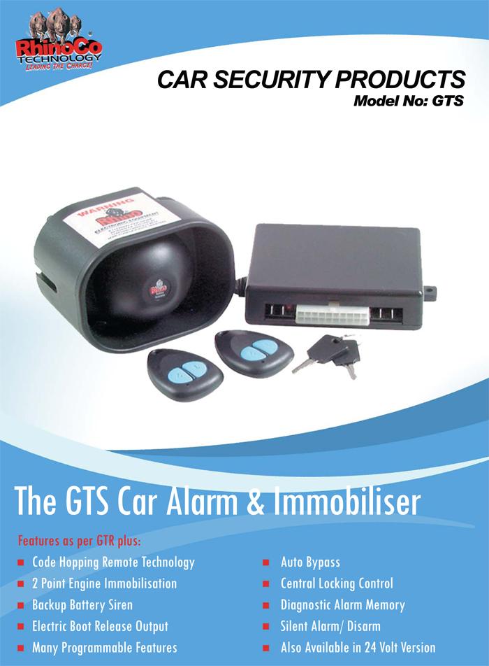 GTS 12 Volt Backup Battery Car Alarm With 2 Point Immobiliser