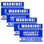 Pack of 4 Adhesive CCTV Warning Stickers (2x Rear and 2x Front Adhesive)