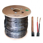 Combined Coax/Power Cable - 100m Roll Black 95% Braiding