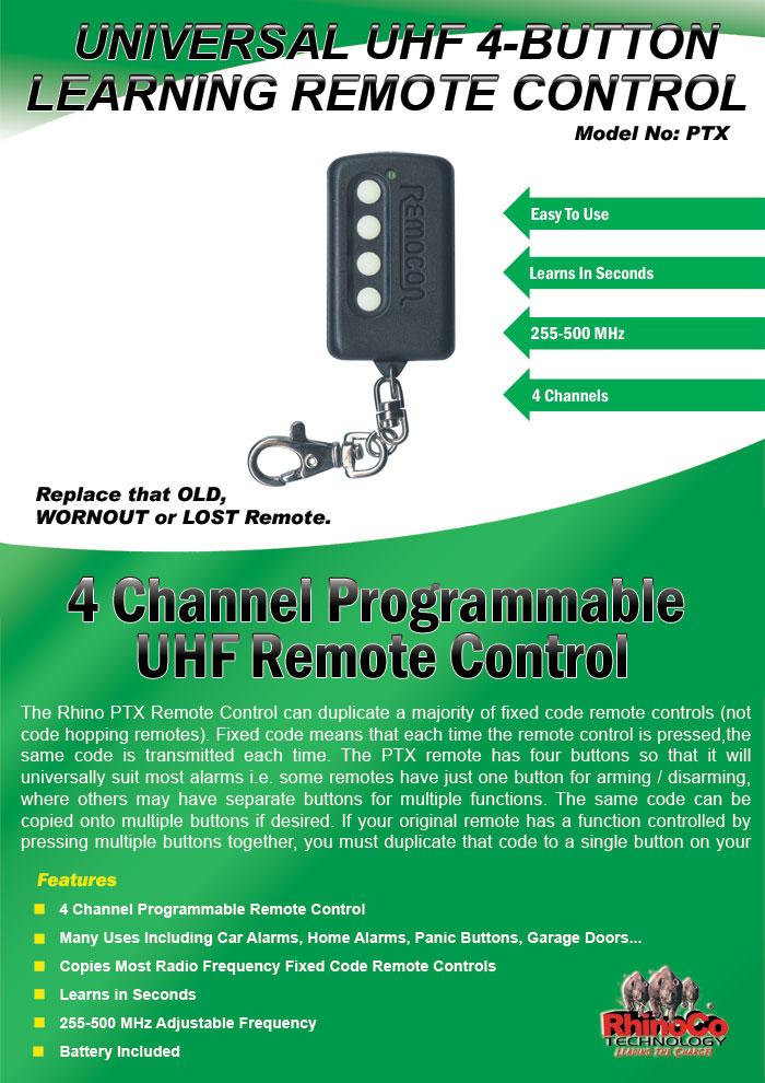Remocon Universal Car Alarm Garage Door Gate Learning